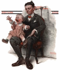1921-07-09-Saturday-Evening-Post-Norman-Rockwell-cover-Boy-Holding-Screaming-Baby-no-logo-400-Digimarc